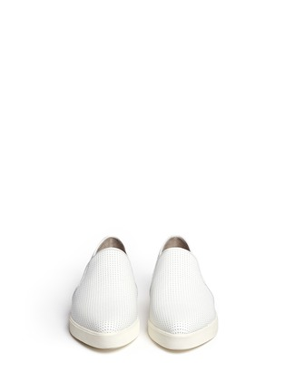 Front View - Click To Enlarge - Vince - Pierce' perforated leather skate slip-ons