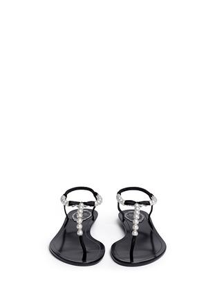 Front View - Click To Enlarge - René Caovilla - Faux pearl T-strap sandals