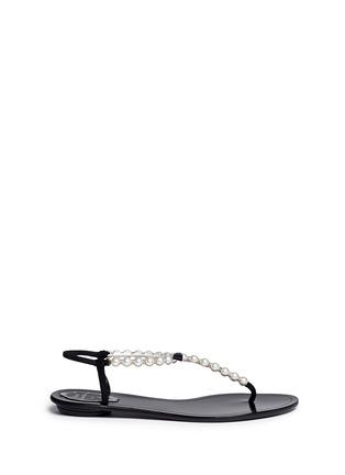 Main View - Click To Enlarge - René Caovilla - Faux pearl T-strap sandals