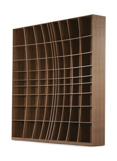 Joined + Jointed Concave walnut wood bookcase