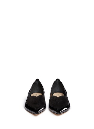 Front View - Click To Enlarge - Isa Tapia - 'Clement' suede heart patent leather skimmer flats