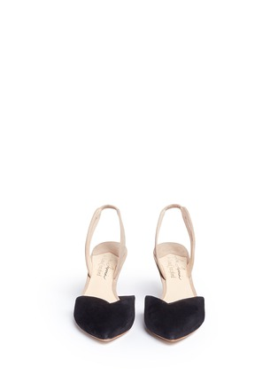 Front View - Click To Enlarge - Isa Tapia - 'Clementina' slingback suede d'Orsay pumps