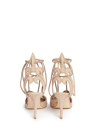 Back View - Click To Enlarge - Isa Tapia - 'Alba' nappa trim pompom wraparound suede sandals