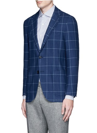 Front View - Click To Enlarge - Tomorrowland - Zegna® windowpane check wool-cashmere soft blazer