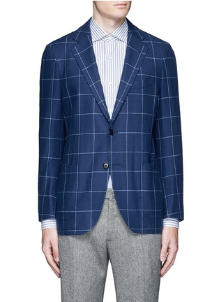 Main View - Click To Enlarge - Tomorrowland - Zegna® windowpane check wool-cashmere soft blazer