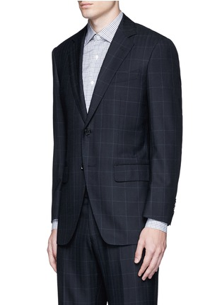 Front View - Click To Enlarge - Tomorrowland - Carlo Barbera® windowpane check wool herringbone suit
