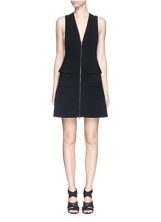 Main View - Click To Enlarge - Alaïa - Plunge V-neck zip jersey knit dress