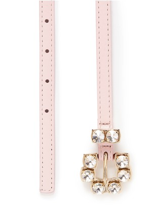 Detail View - Click To Enlarge - MAISON BOINET - Rhinestone buckle nappa leather skinny belt