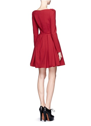 Back View - Click To Enlarge - ALEXANDER MCQUEEN - Wool crepe pleat skirt dress