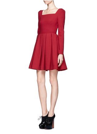 Front View - Click To Enlarge - ALEXANDER MCQUEEN - Wool crepe pleat skirt dress