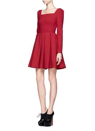 Figure View - Click To Enlarge - ALEXANDER MCQUEEN - Wool crepe pleat skirt dress