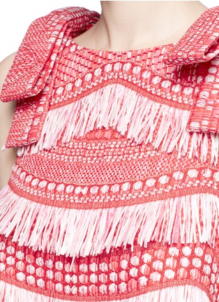 Detail View - Click To Enlarge - ANGEL CHEN - Detachable bow fringe raffia dress