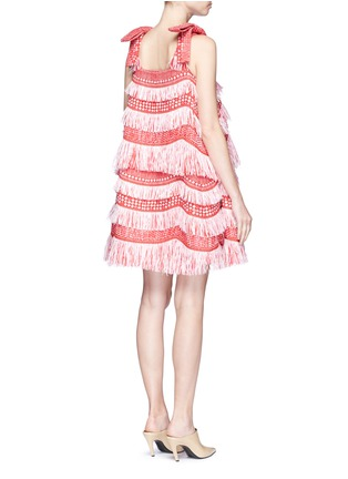 Back View - Click To Enlarge - ANGEL CHEN - Detachable bow fringe raffia dress