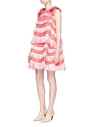 Figure View - Click To Enlarge - ANGEL CHEN - Detachable bow fringe raffia dress