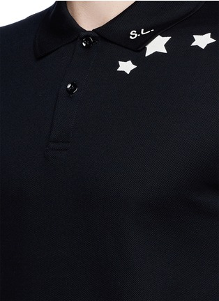 Detail View - Click To Enlarge - SAINT LAURENT - Star print cotton piqué polo shirt