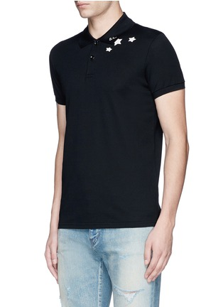 Front View - Click To Enlarge - SAINT LAURENT - Star print cotton piqué polo shirt