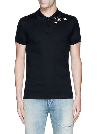 Main View - Click To Enlarge - SAINT LAURENT - Star print cotton piqué polo shirt