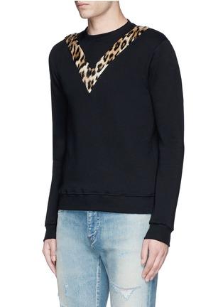 Front View - Click To Enlarge - SAINT LAURENT - Leopard print insert sweatshirt