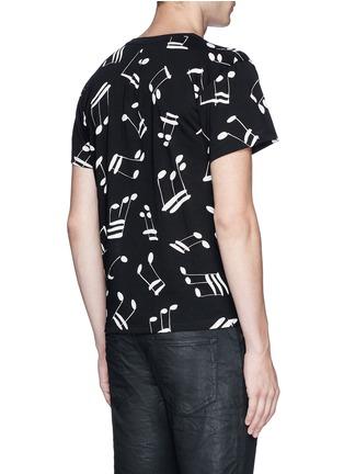 Back View - Click To Enlarge - SAINT LAURENT - Musical note print cotton T-shirt