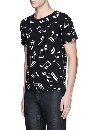 Front View - Click To Enlarge - SAINT LAURENT - Musical note print cotton T-shirt