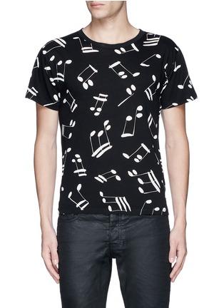Main View - Click To Enlarge - SAINT LAURENT - Musical note print cotton T-shirt