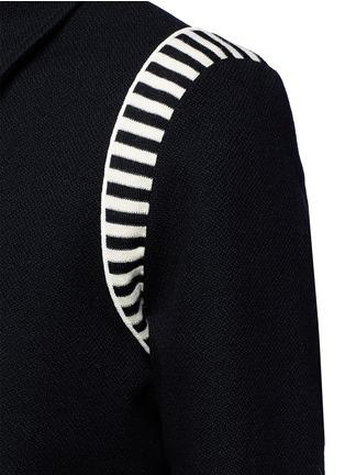 Detail View - Click To Enlarge - SAINT LAURENT - Stripe rib trim wool bomber jacket