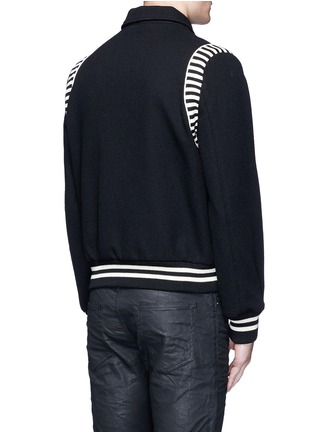 Back View - Click To Enlarge - SAINT LAURENT - Stripe rib trim wool bomber jacket