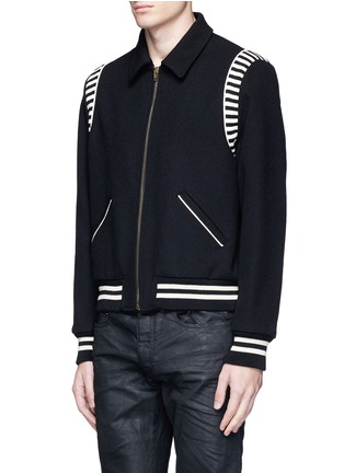 Front View - Click To Enlarge - SAINT LAURENT - Stripe rib trim wool bomber jacket