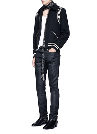 Figure View - Click To Enlarge - SAINT LAURENT - Stripe rib trim wool bomber jacket