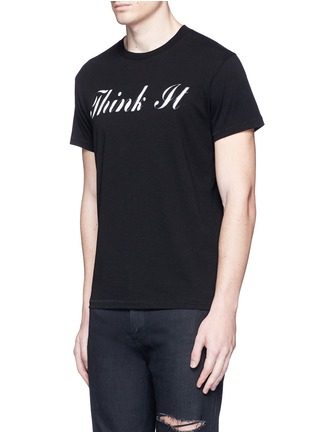 Front View - Click To Enlarge - SAINT LAURENT - 'Think It' print cotton T-shirt