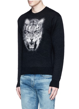 Front View - Click To Enlarge - SAINT LAURENT - Tiger head jacquard Mohair sweater