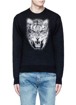 Main View - Click To Enlarge - SAINT LAURENT - Tiger head jacquard Mohair sweater