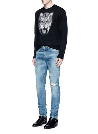 Figure View - Click To Enlarge - SAINT LAURENT - Tiger head jacquard Mohair sweater