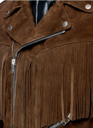 Detail View - Click To Enlarge - SAINT LAURENT - Fringed suede motorcycle jacket