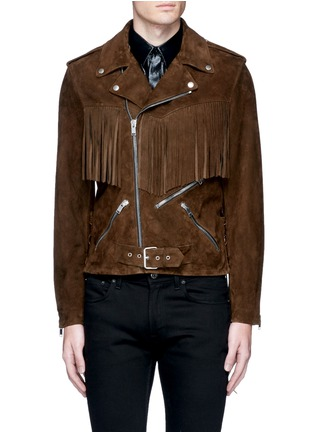 Main View - Click To Enlarge - SAINT LAURENT - Fringed suede motorcycle jacket