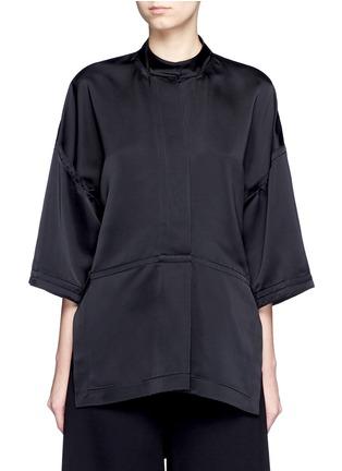 Main View - Click To Enlarge - Victor Alfaro - Drop shoulder satin tunic shirt