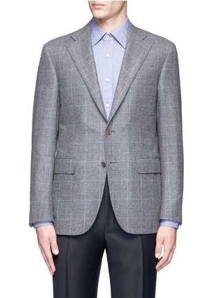 Main View - Click To Enlarge - Canali - 'Capri' windowpane check wool-cashmere blazer