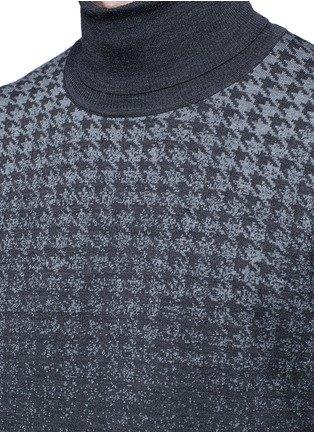 Detail View - Click To Enlarge - Canali - Houndstooth Merino wool turtleneck sweater