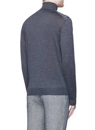 Back View - Click To Enlarge - Canali - Houndstooth Merino wool turtleneck sweater