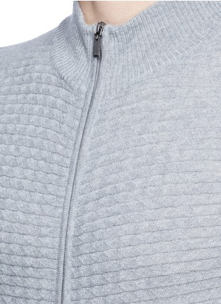 Detail View - Click To Enlarge - Canali - Embossed zip front wool sweater