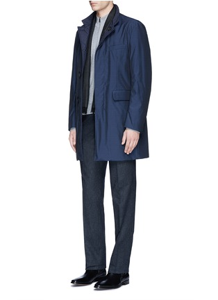 Figure View - Click To Enlarge - Canali - Embossed zip front wool sweater
