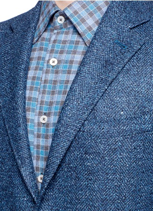 Detail View - Click To Enlarge - CANALI - 'Kei' wool-silk-linen herringbone blazer