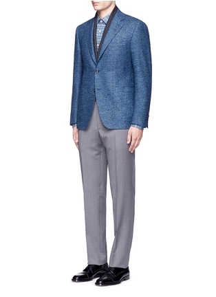 Figure View - Click To Enlarge - CANALI - 'Kei' wool-silk-linen herringbone blazer