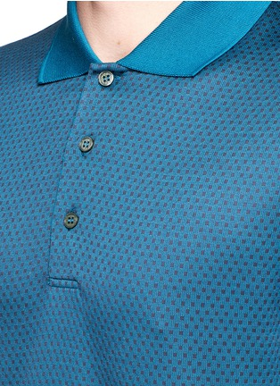 Detail View - Click To Enlarge - Canali - Square motif silk-cotton polo shirt