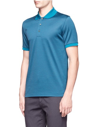 Front View - Click To Enlarge - Canali - Square motif silk-cotton polo shirt