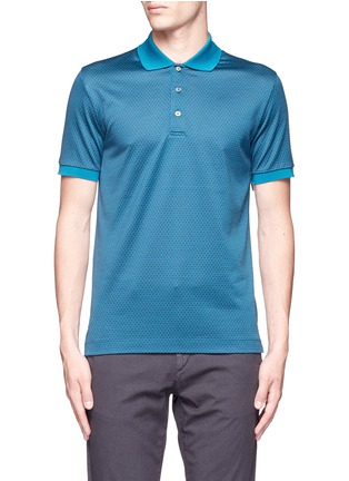 Main View - Click To Enlarge - Canali - Square motif silk-cotton polo shirt