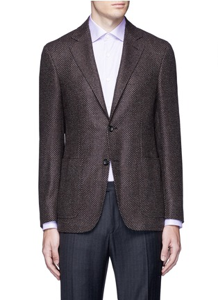 Main View - Click To Enlarge - Canali - 'Kei' wool-cashmere tweed soft blazer