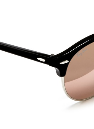 Detail View - Click To Enlarge - Ray-Ban - 'Clubround' acetate browline metal mirror sunglasses