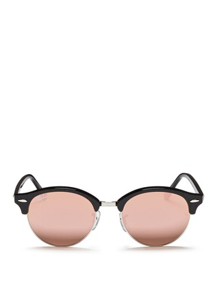 Main View - Click To Enlarge - Ray-Ban - 'Clubround' acetate browline metal mirror sunglasses