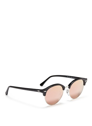Figure View - Click To Enlarge - Ray-Ban - 'Clubround' acetate browline metal mirror sunglasses